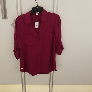 Express magenta colored roll sleeve shirt